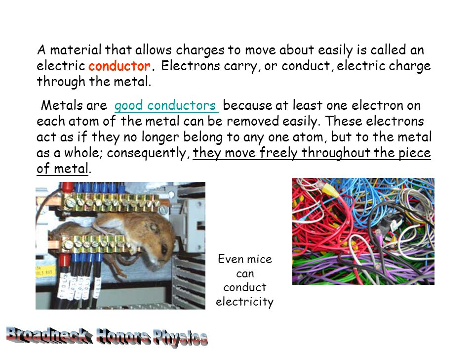 A material that allows charges to move about easily is called an electric conductor.