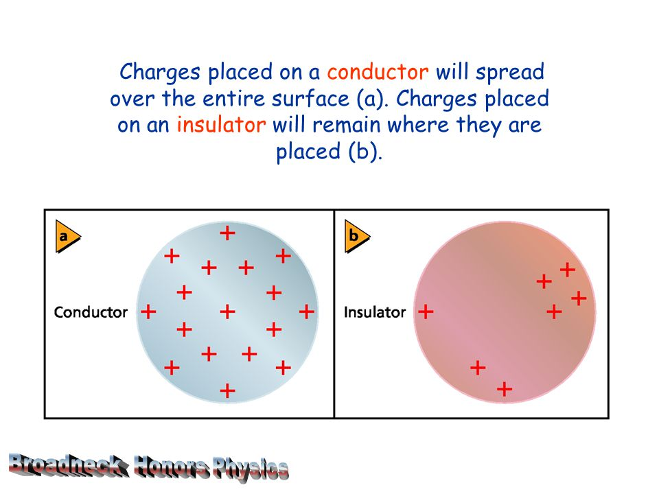 Charges placed on a conductor will spread over the entire surface (a).
