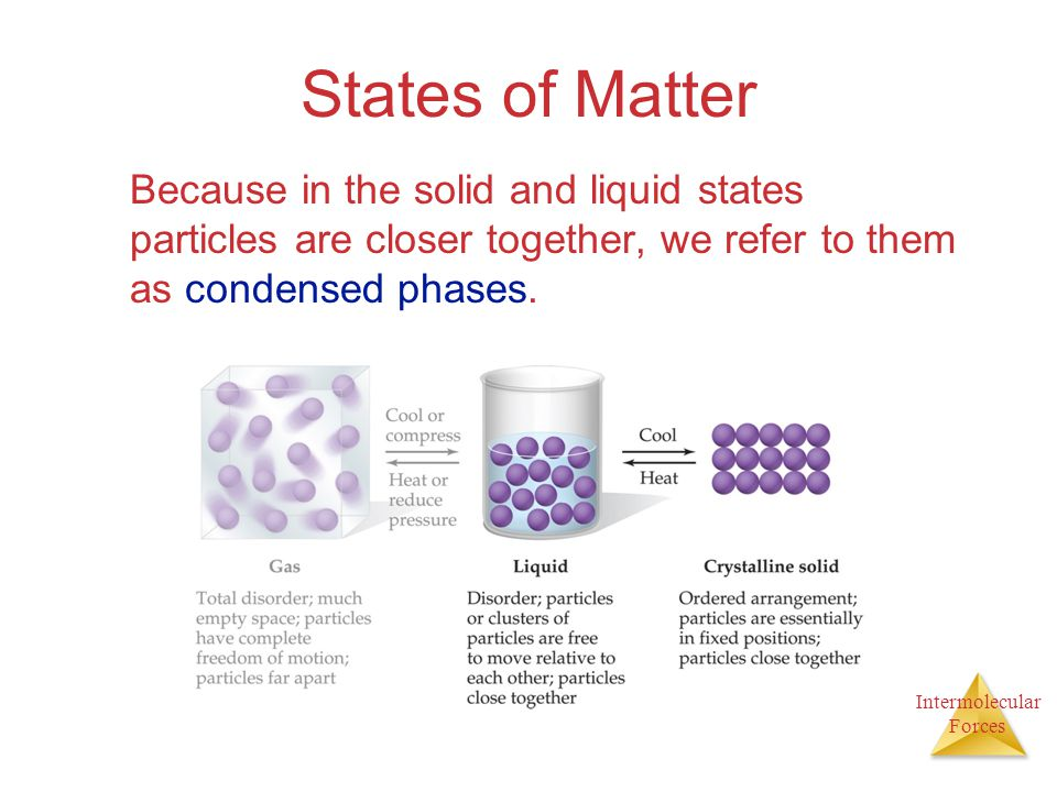 Intermolecular Forces States of Matter Because in the solid and liquid states particles are closer together, we refer to them as condensed phases.