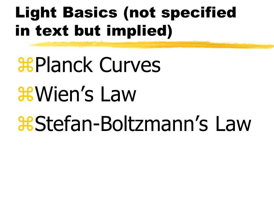 Light Basics (not specified in text but implied) zPlanck Curves zWien's Law zStefan-Boltzmann's Law