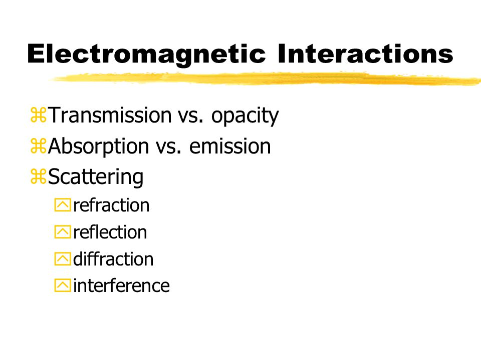 Electromagnetic Interactions zTransmission vs. opacity zAbsorption vs. emission zScattering yrefraction yreflection ydiffraction yinterference