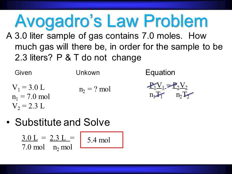 AVOGADRO'S LAW V  n  V  n  V  n (direct) V 1 = V 2 n 1 n 2 –T & P Constant n V