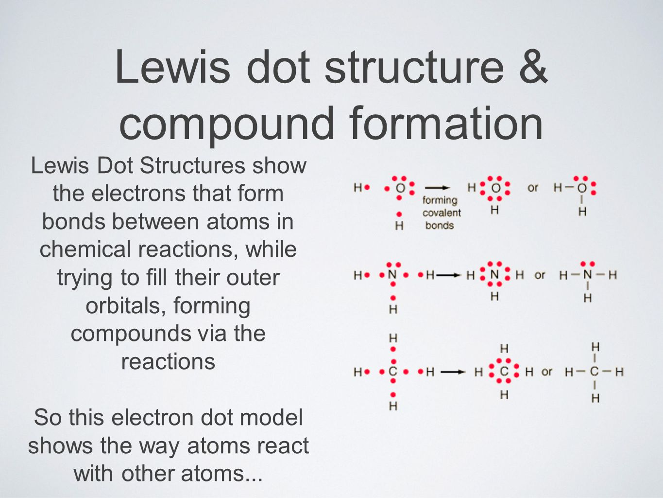 Lewis dot structure & compound formation Lewis Dot Structures show the electrons that form bonds between atoms in chemical reactions, while trying to fill their outer orbitals, forming compounds via the reactions So this electron dot model shows the way atoms react with other atoms...
