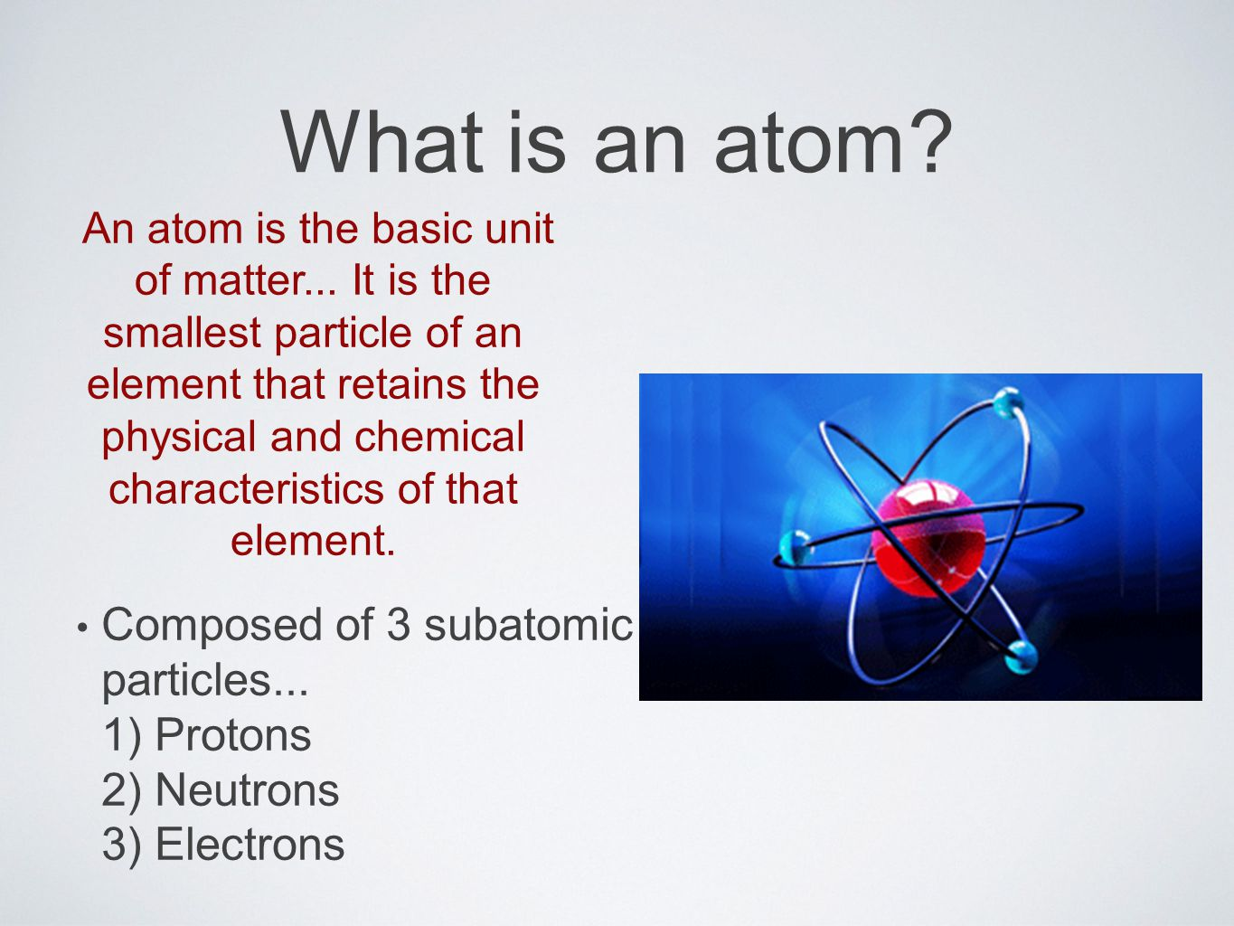 What is an atom. An atom is the basic unit of matter...