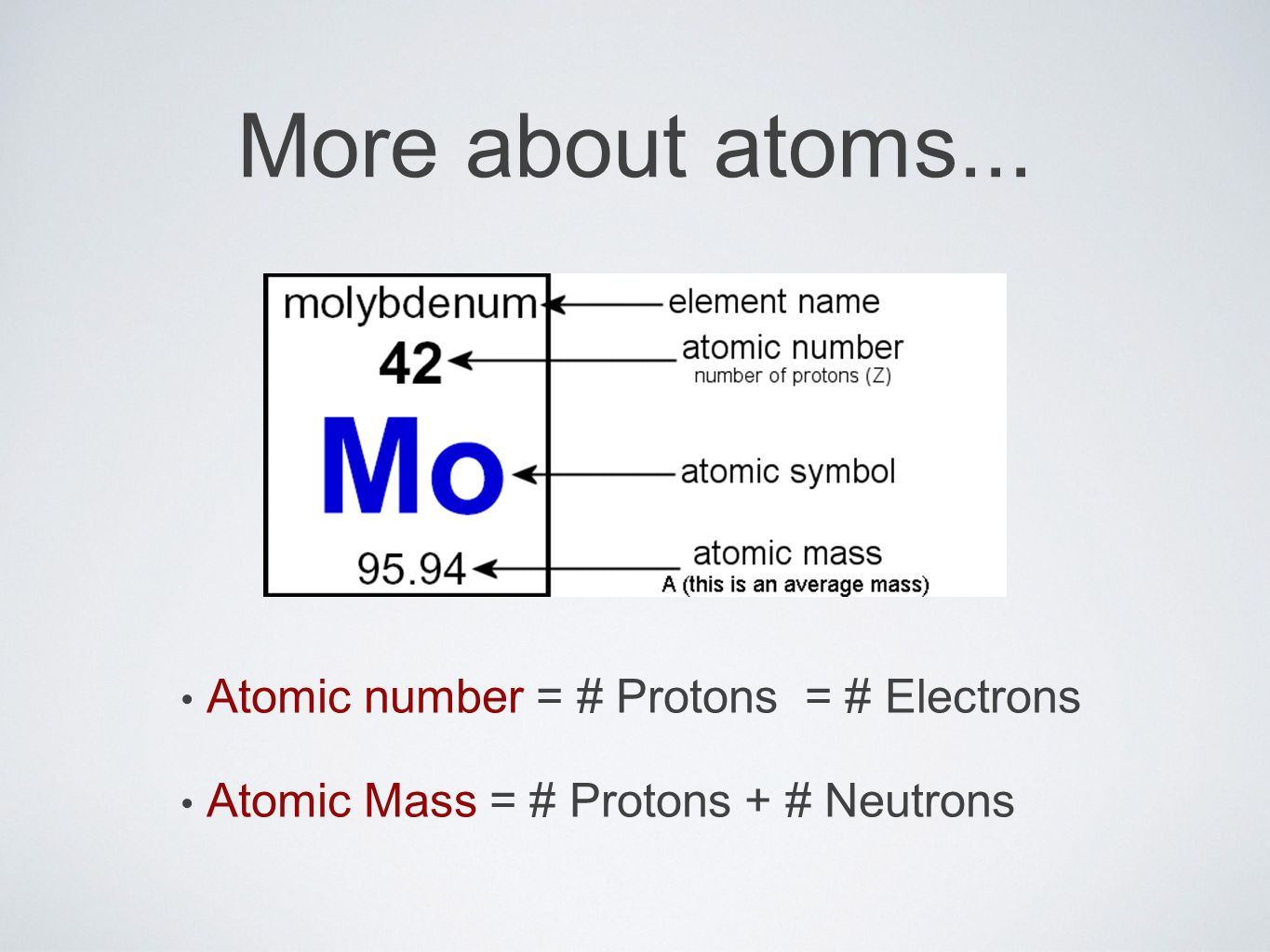 More about atoms... Atomic number = # Protons = # Electrons Atomic Mass = # Protons + # Neutrons