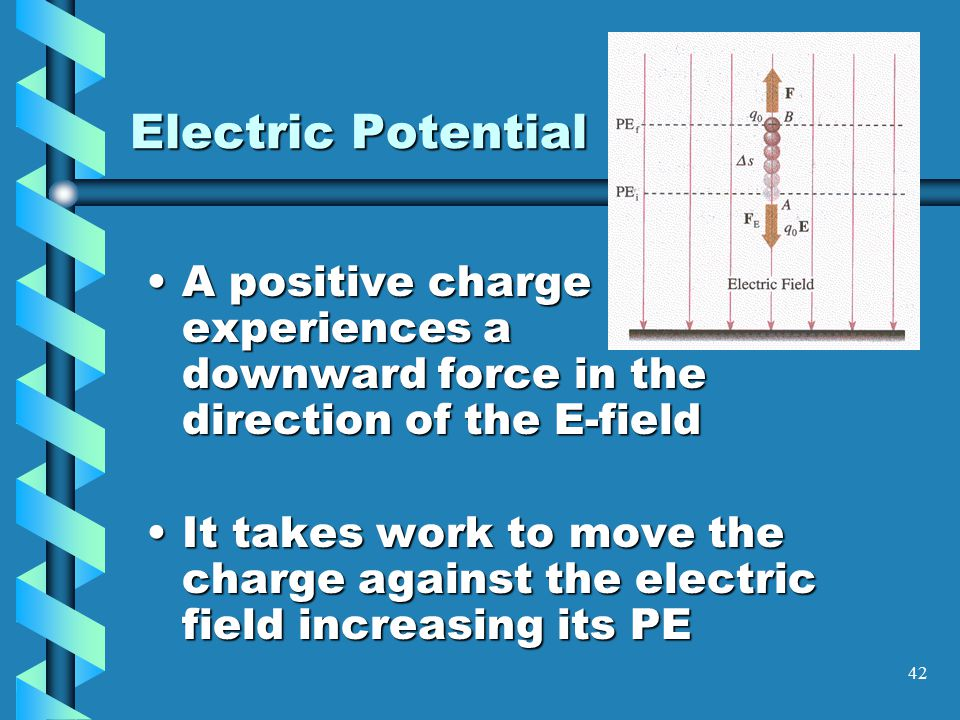 41 Electric Potential It takes a force to raise an object in the Earth's gravitational field.