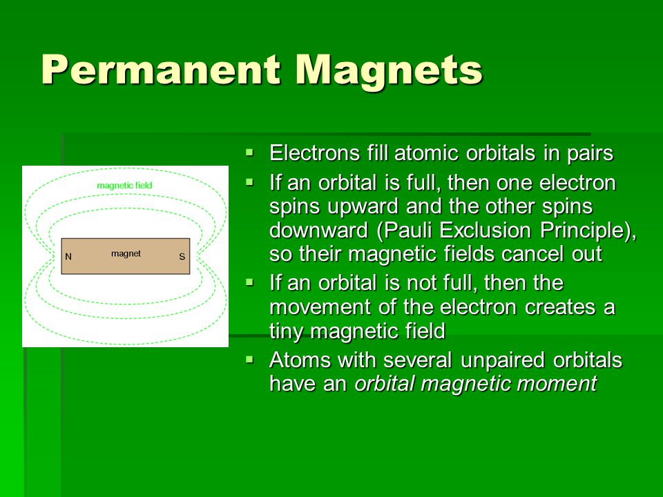 Permanent Magnets  Electrons fill atomic orbitals in pairs  If an orbital is full, then one electron spins upward and the other spins downward (Pauli Exclusion Principle), so their magnetic fields cancel out  If an orbital is not full, then the movement of the electron creates a tiny magnetic field  Atoms with several unpaired orbitals have an orbital magnetic moment