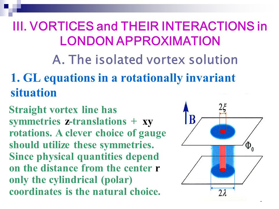 1 1. GL equations in a rotationally invariant situation Straight vortex line has symmetries z-translations + xy rotations. A clever choice of gauge sh
