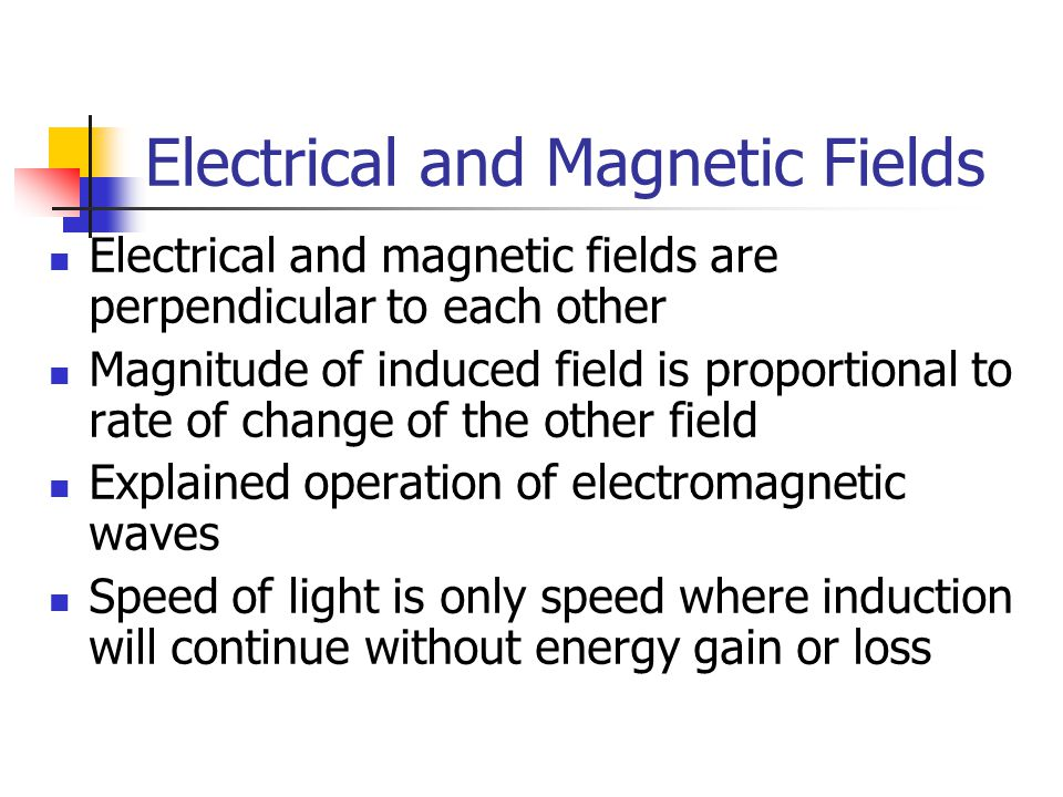 Electrical and Magnetic Fields Electrical and magnetic fields are perpendicular to each other Magnitude of induced field is proportional to rate of ch