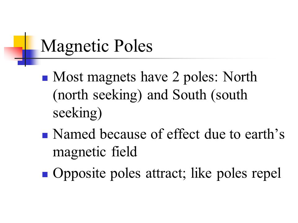 Magnetic Poles Most magnets have 2 poles: North (north seeking) and South (south seeking) Named because of effect due to earth's magnetic field Opposi