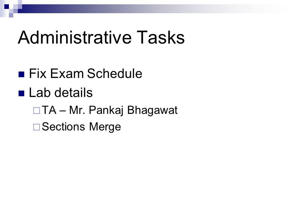 Administrative Tasks Fix Exam Schedule Lab details  TA – Mr. Pankaj Bhagawat  Sections Merge
