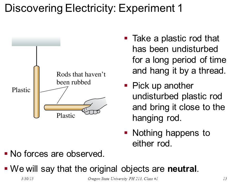 Discovering Electricity: Experiment 1  Take a plastic rod that has been undisturbed for a long period of time and hang it by a thread.  Pick up anot