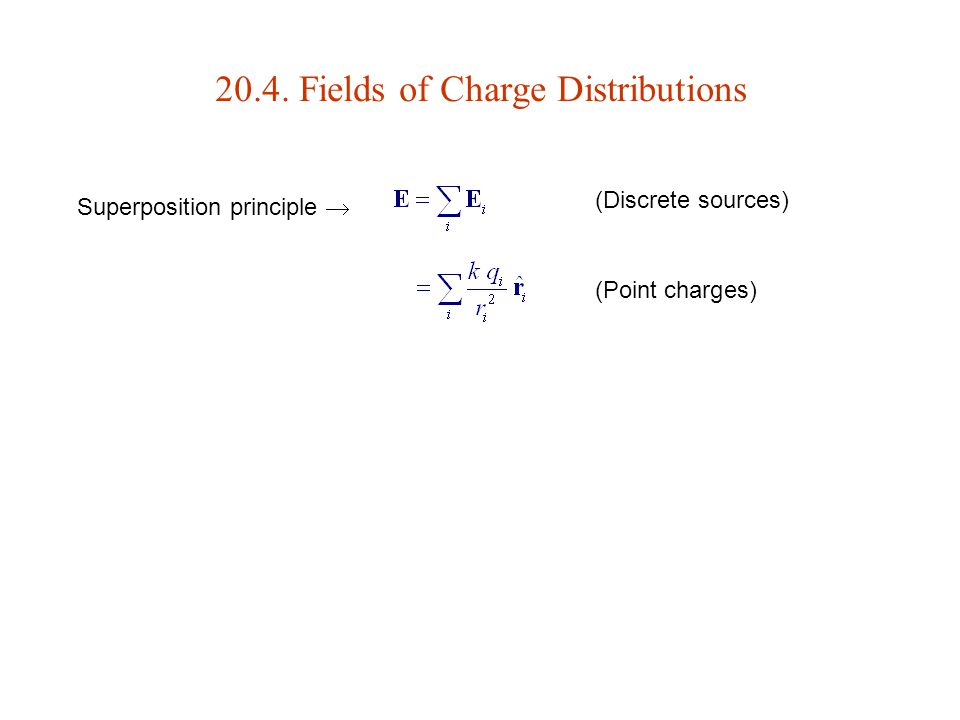 20.4. Fields of Charge Distributions Superposition principle  (Point charges) (Discrete sources)