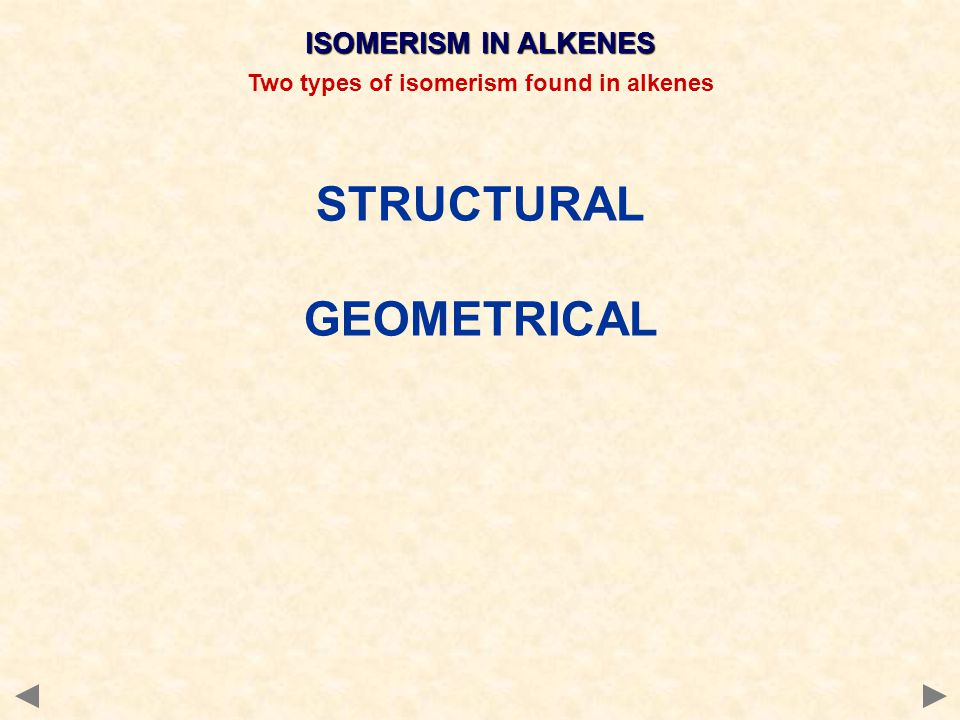 ISOMERISM IN ALKENES Two types of isomerism found in alkenes STRUCTURAL GEOMETRICAL