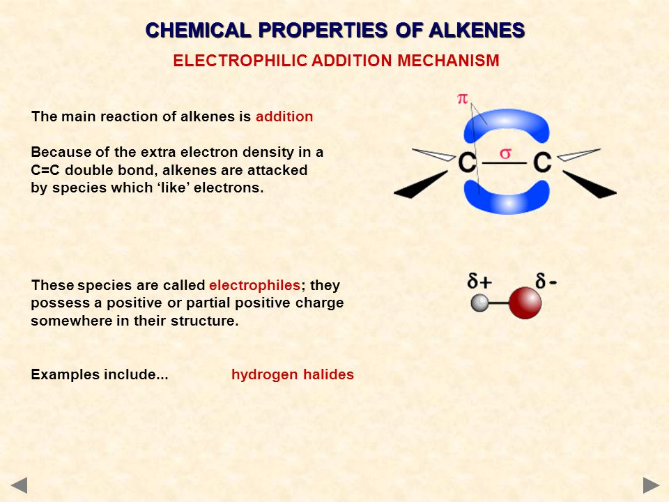 CHEMICAL PROPERTIES OF ALKENES ELECTROPHILIC ADDITION MECHANISM The main reaction of alkenes is addition Because of the extra electron density in a C=