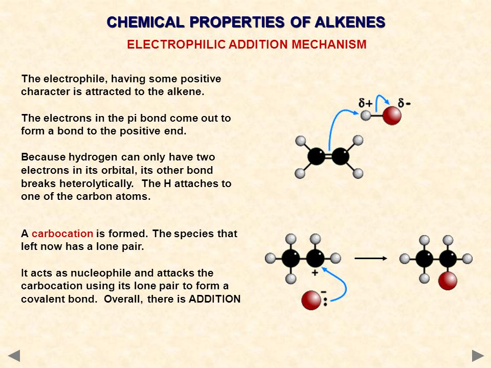 CHEMICAL PROPERTIES OF ALKENES ELECTROPHILIC ADDITION MECHANISM The electrophile, having some positive character is attracted to the alkene. The elect