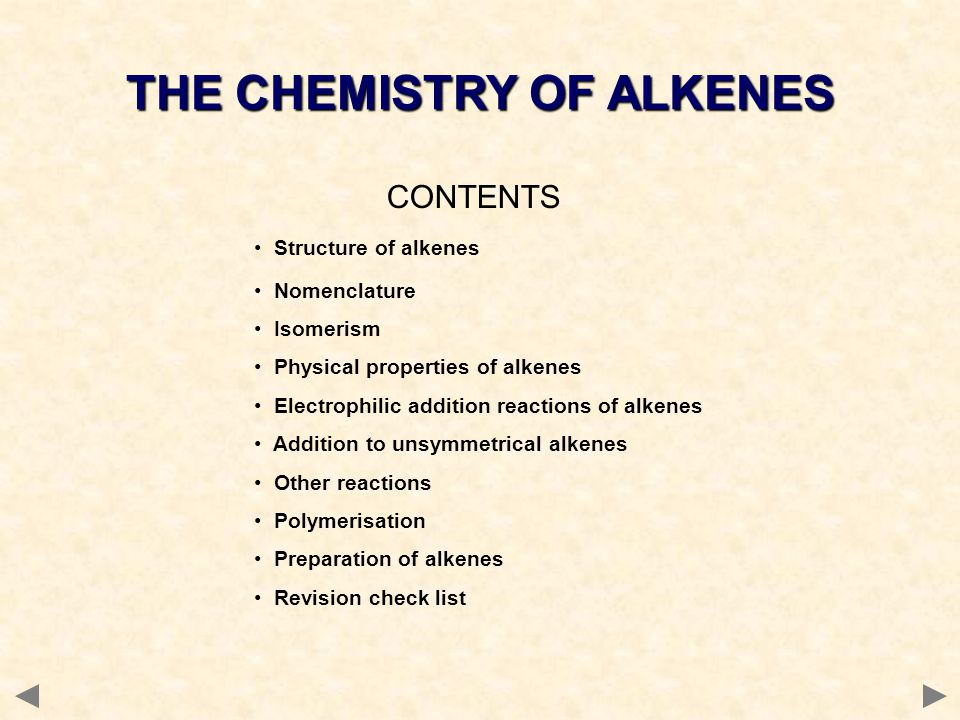 CONTENTS Structure of alkenes Nomenclature Isomerism Physical properties of alkenes Electrophilic addition reactions of alkenes Addition to unsymmetri