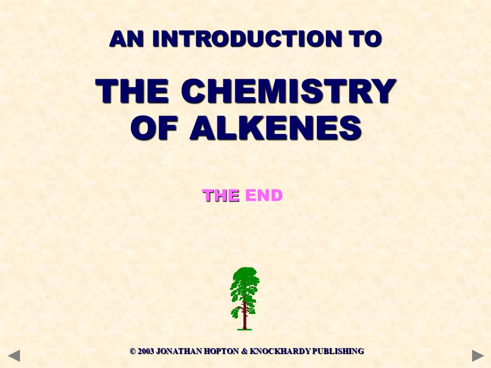 © 2003 JONATHAN HOPTON & KNOCKHARDY PUBLISHING THE THE END AN INTRODUCTION TO THE CHEMISTRY OF ALKENES
