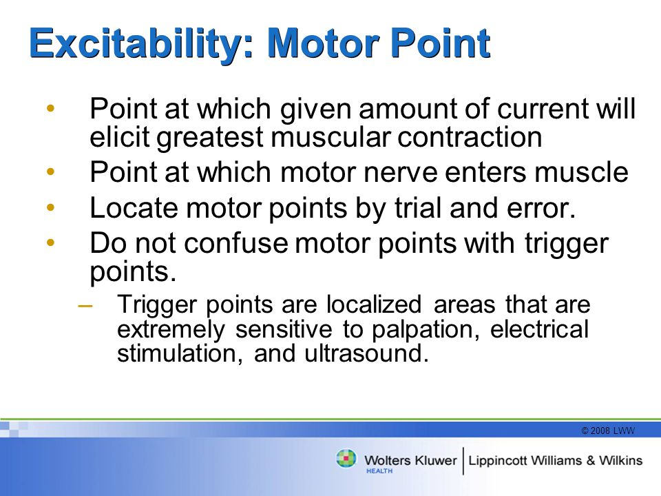 © 2008 LWW Excitability: Motor Point Point at which given amount of current will elicit greatest muscular contraction Point at which motor nerve enters muscle Locate motor points by trial and error.