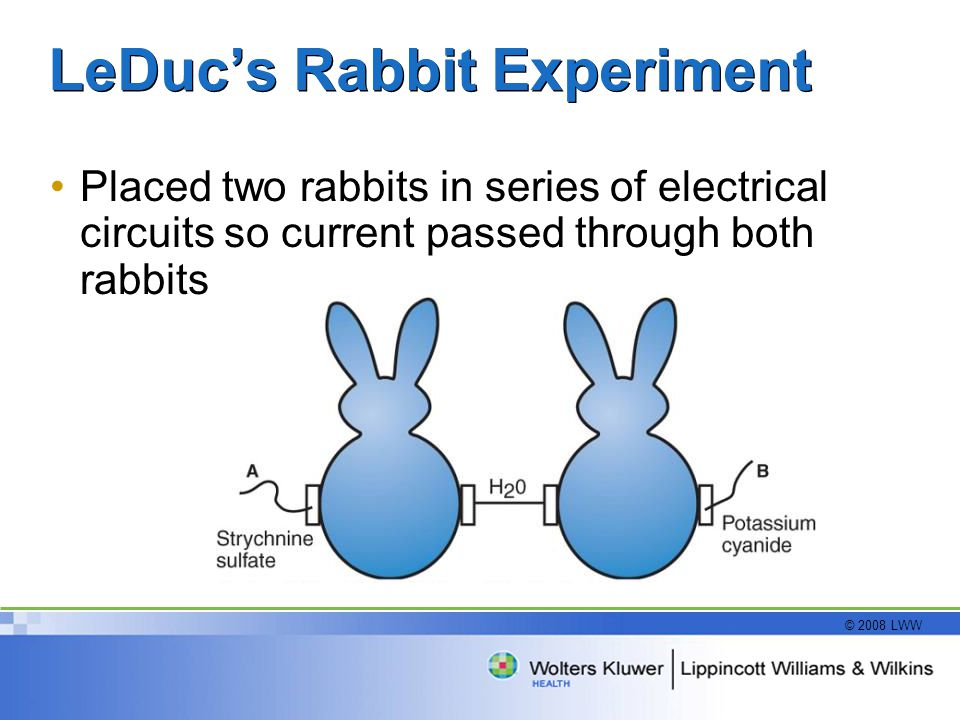 © 2008 LWW LeDuc's Rabbit Experiment Placed two rabbits in series of electrical circuits so current passed through both rabbits