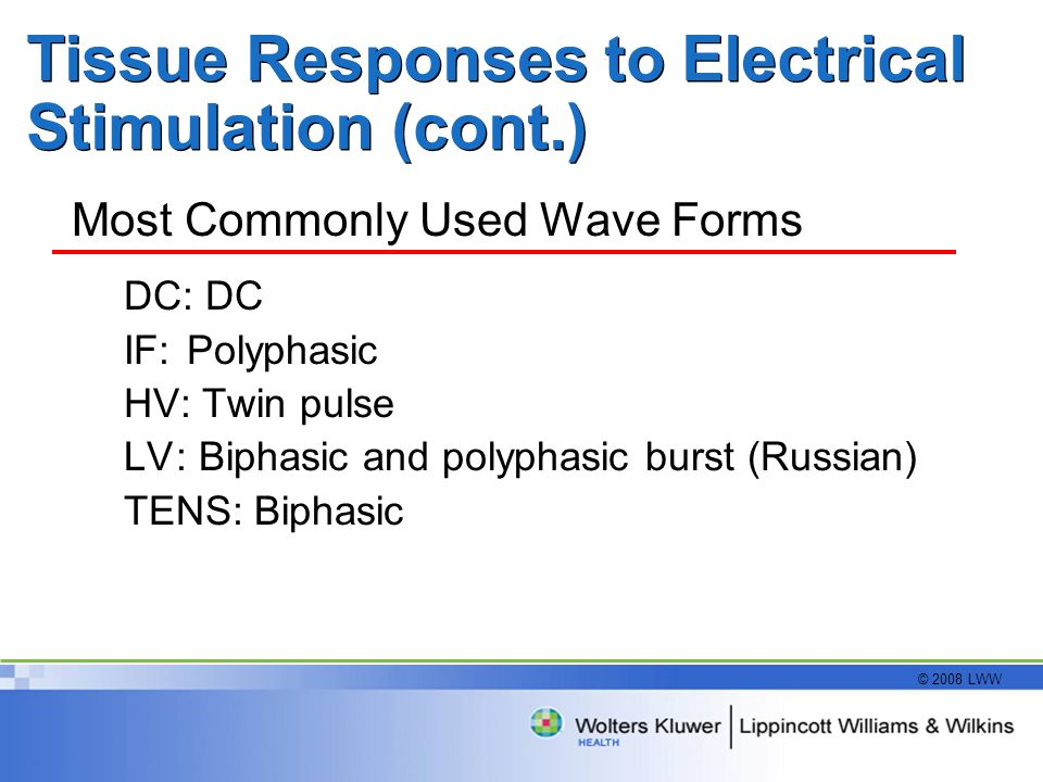 © 2008 LWW Tissue Responses to Electrical Stimulation (cont.) Most Commonly Used Wave Forms DC: DC IF: Polyphasic HV: Twin pulse LV: Biphasic and polyphasic burst (Russian) TENS: Biphasic