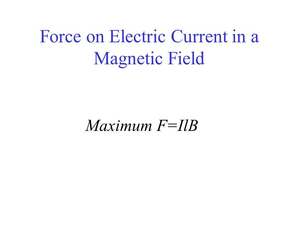 Force on Electric Current in a Magnetic Field Maximum F=IlB