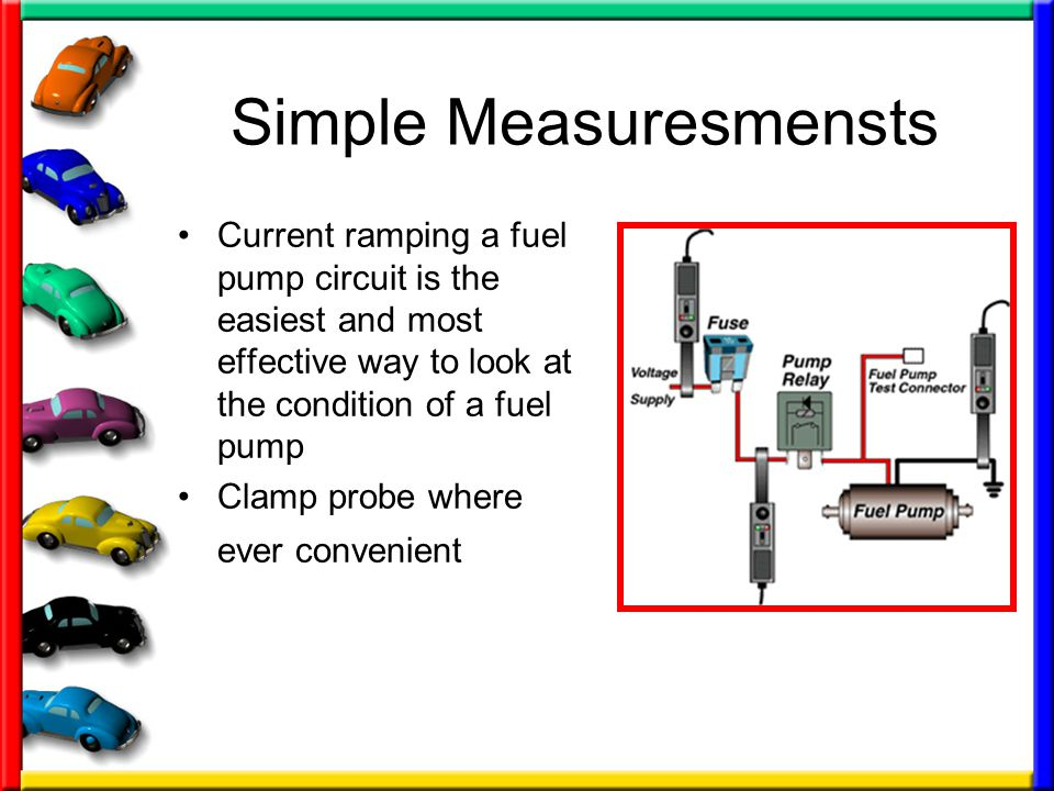 Simple Measuresmensts Current ramping a fuel pump circuit is the easiest and most effective way to look at the condition of a fuel pump Clamp probe where ever convenient
