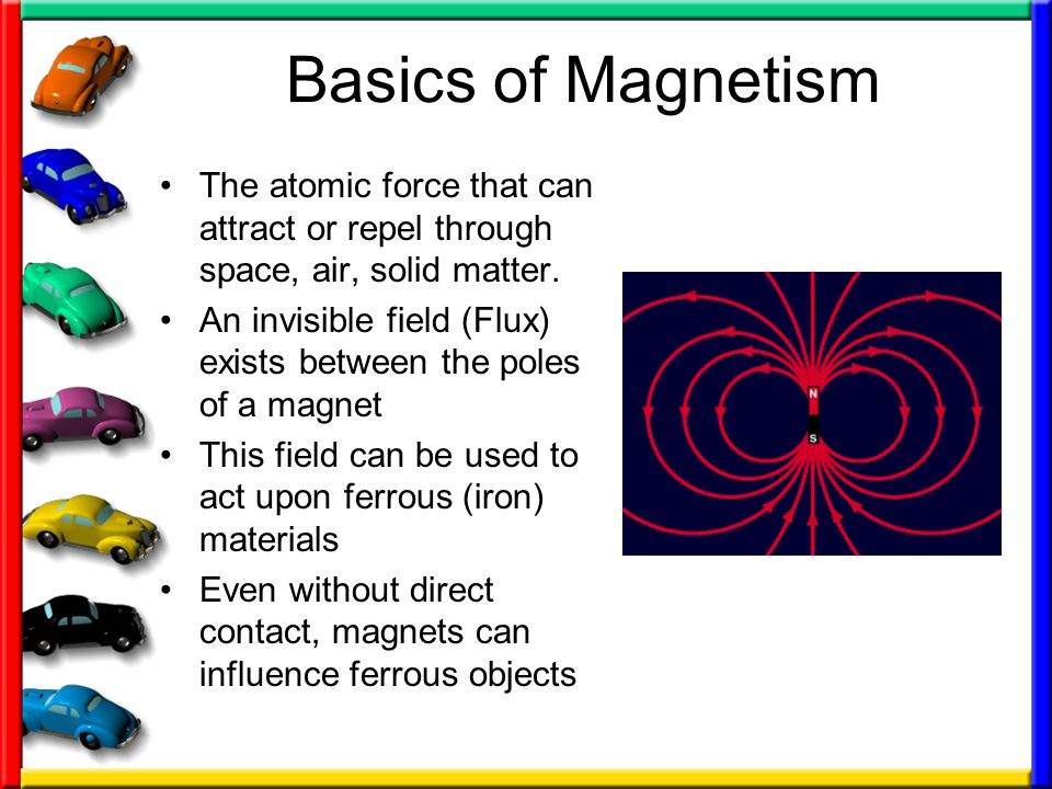 Basics of Magnetism The atomic force that can attract or repel through space, air, solid matter.