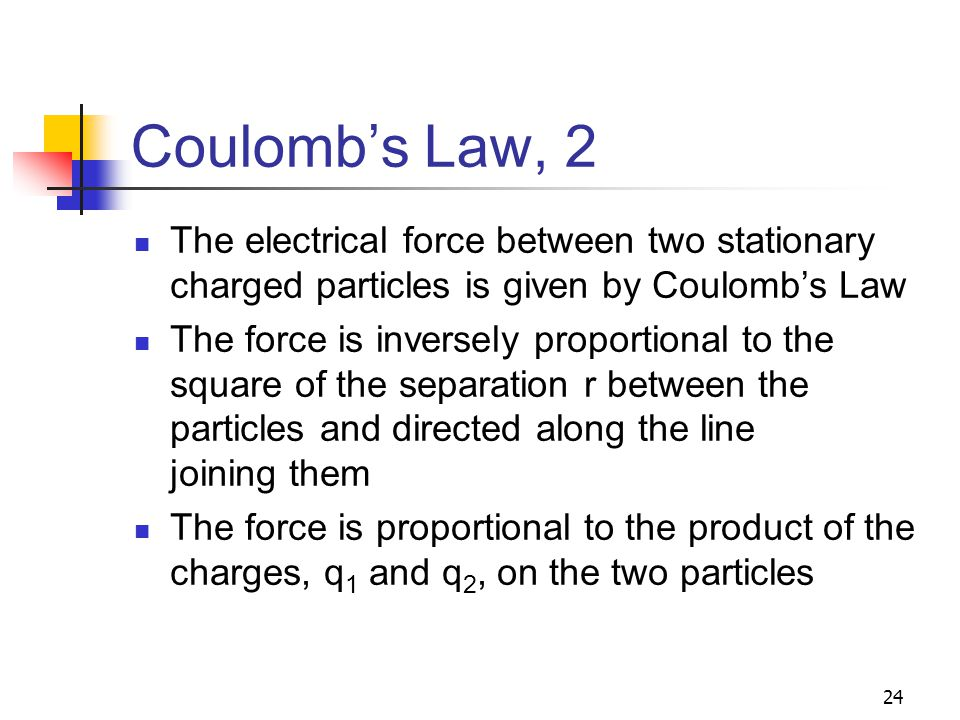 24 Coulomb's Law, 2 The electrical force between two stationary charged particles is given by Coulomb's Law The force is inversely proportional to the