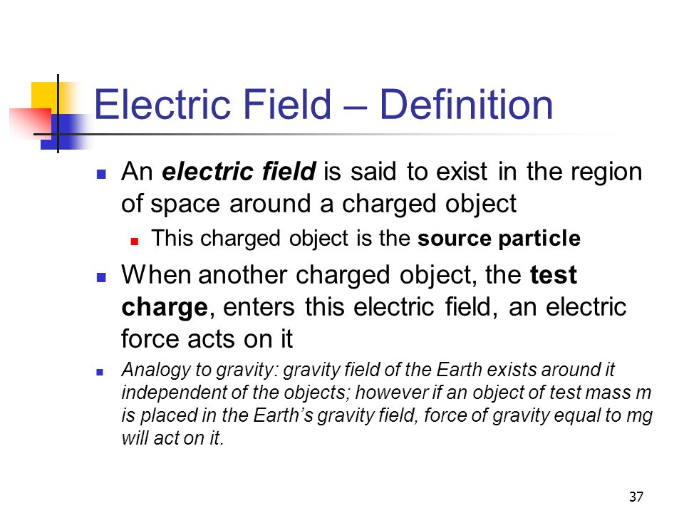 37 Electric Field – Definition An electric field is said to exist in the region of space around a charged object This charged object is the source par
