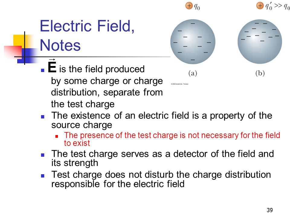 39 Electric Field, Notes is the field produced by some charge or charge distribution, separate from the test charge The existence of an electric field
