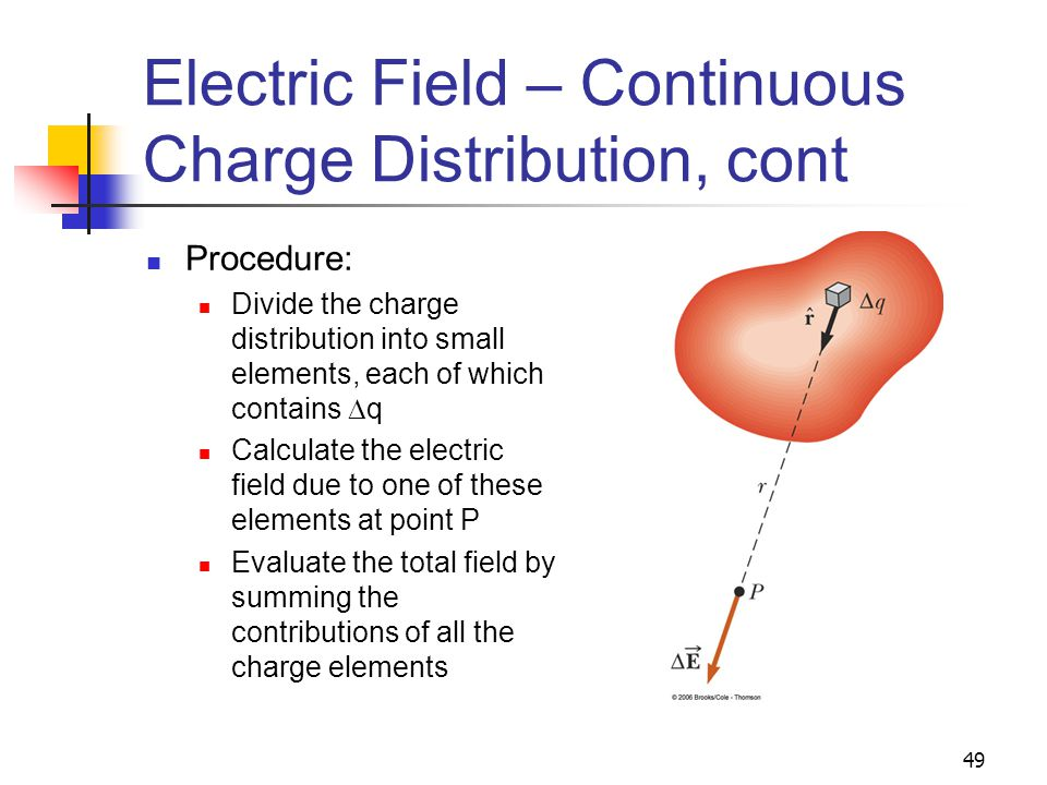 49 Electric Field – Continuous Charge Distribution, cont Procedure: Divide the charge distribution into small elements, each of which contains  q Cal