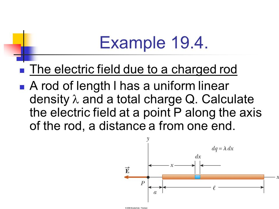 52 Example 19.4. The electric field due to a charged rod A rod of length l has a uniform linear density and a total charge Q. Calculate the electric f