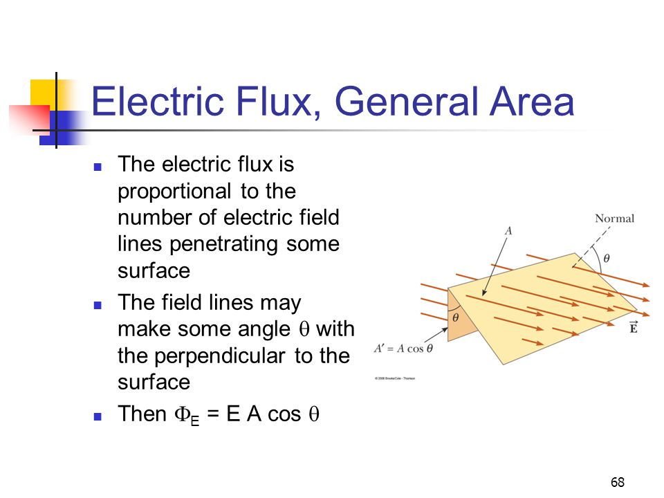 68 Electric Flux, General Area The electric flux is proportional to the number of electric field lines penetrating some surface The field lines may ma