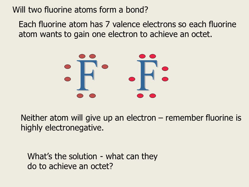 Will two fluorine atoms form a bond? Each fluorine atom has 7 valence electrons so each fluorine atom wants to gain one electron to achieve an octet.