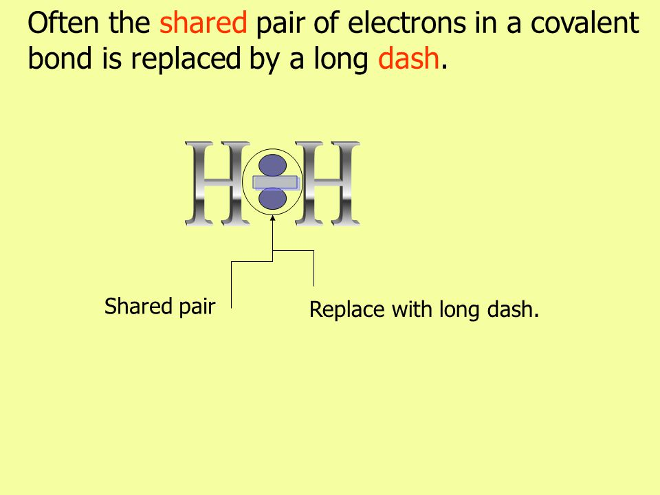 Often the shared pair of electrons in a covalent bond is replaced by a long dash. Replace with long dash. Shared pair