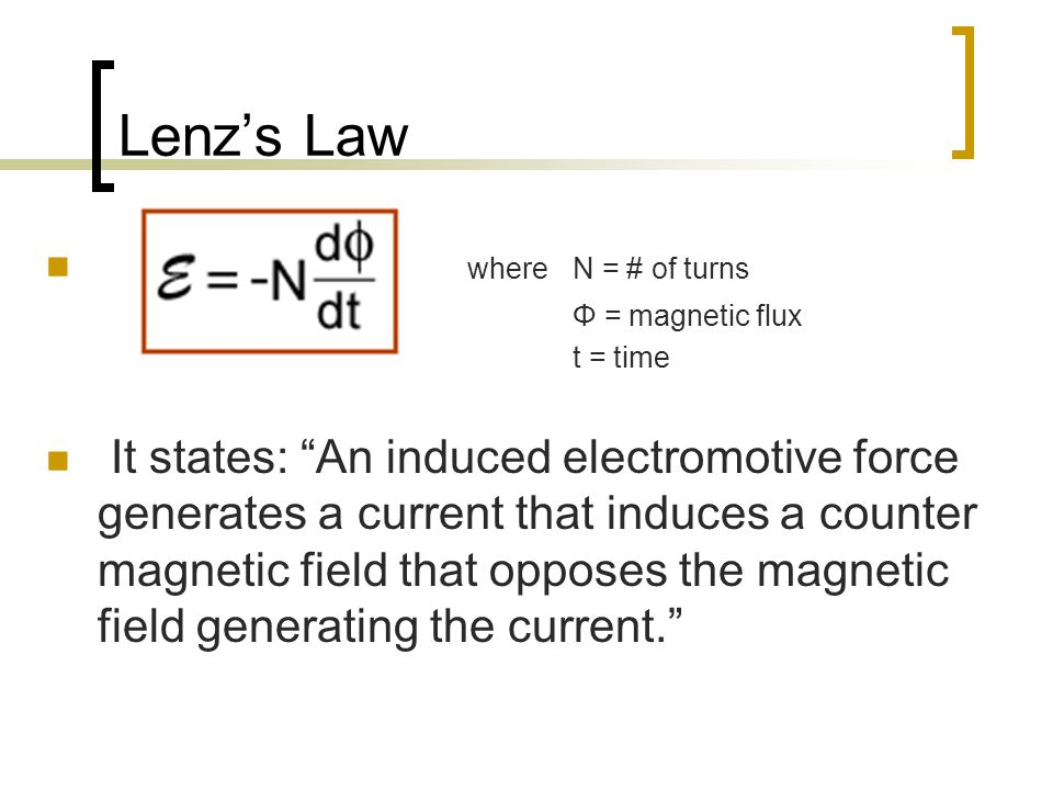 "Lenz's Law where N = # of turns Φ = magnetic flux t = time It states: ""An induced electromotive force generates a current that induces a counter magne"