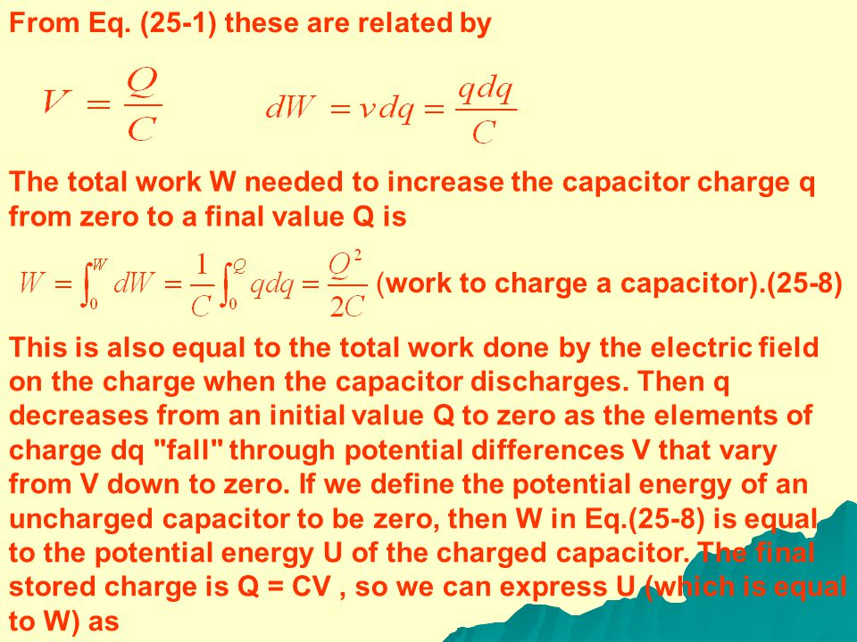 The equivalent capacitance of a parallel combination equals the sum of the individual capacitances.