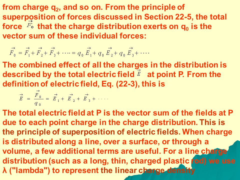 22-7 ELECTRIC-FIELD CALCULATIONS Equation (22-7) gives the electric field caused by a single point charge.