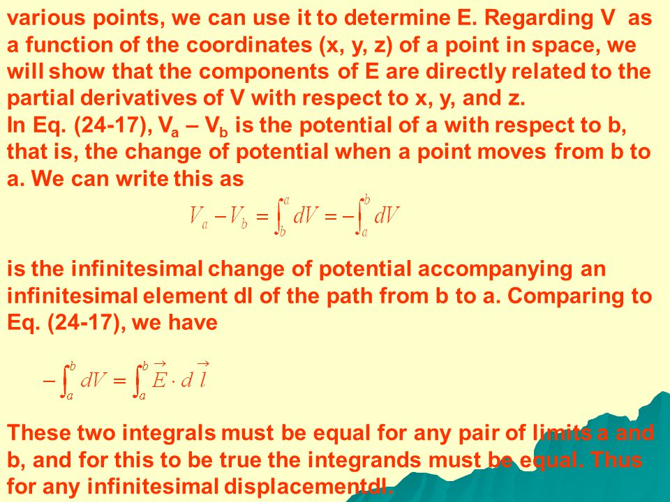 EQUIPOTENTIALS AND CONDUCTORS When all charges are at rest, the surface of a conductor is always an equipotential surface.