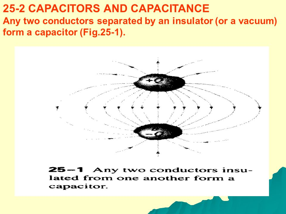 25 Capacitance and Dielectrics 25-1 INTRODUCTION A capacitor is a device that stores electric potential energy and electric charge. To make a capacito