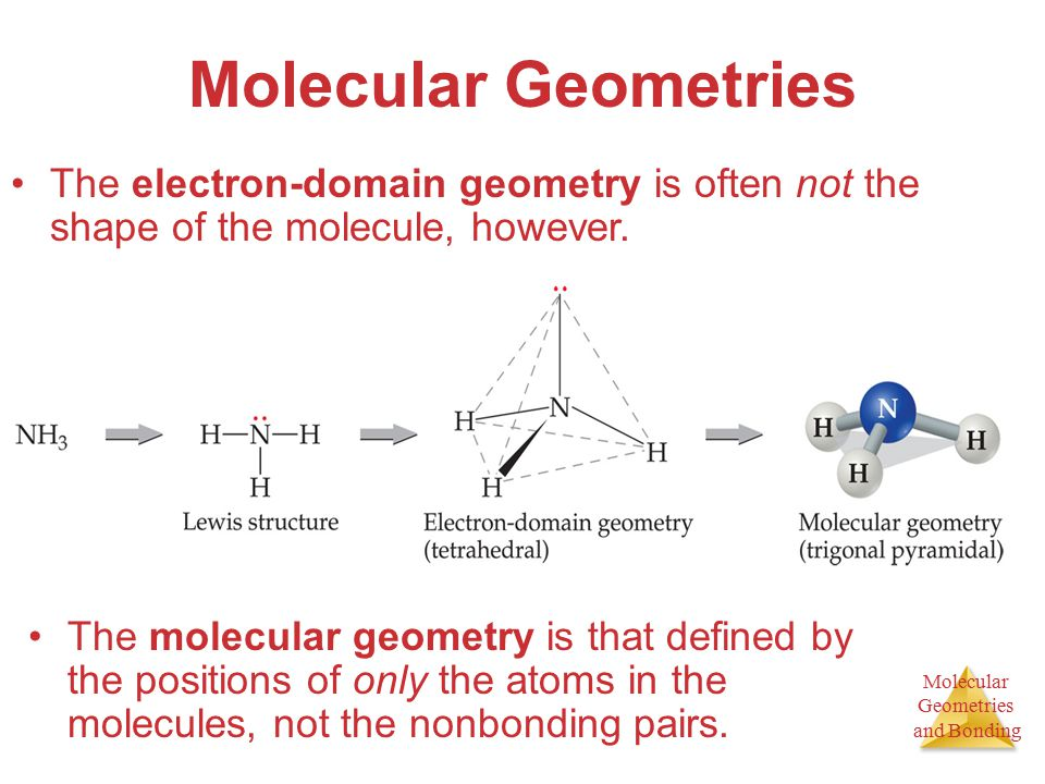 Molecular Geometries and Bonding Molecular Geometries The molecular geometry is that defined by the positions of only the atoms in the molecules, not the nonbonding pairs.