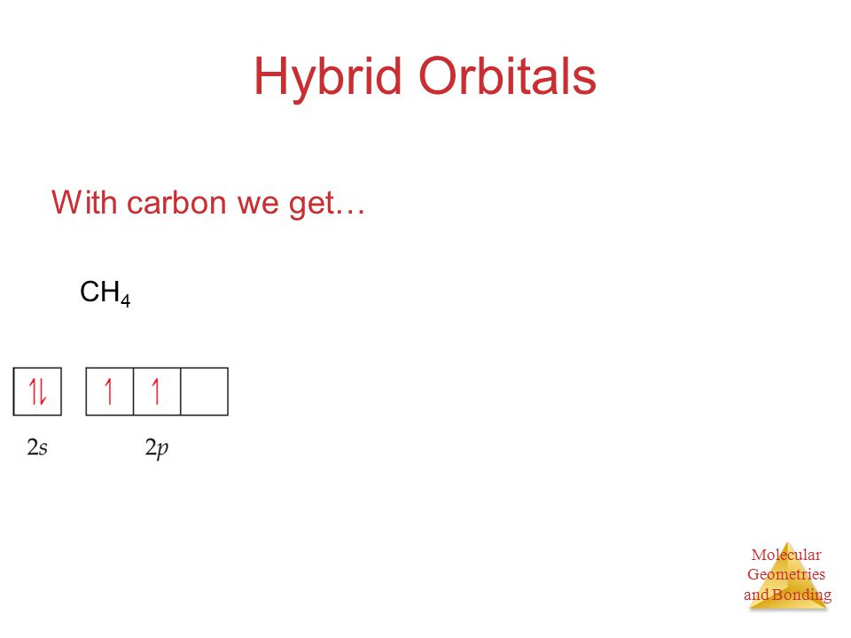 Molecular Geometries and Bonding Hybrid Orbitals With carbon we get… CH 4