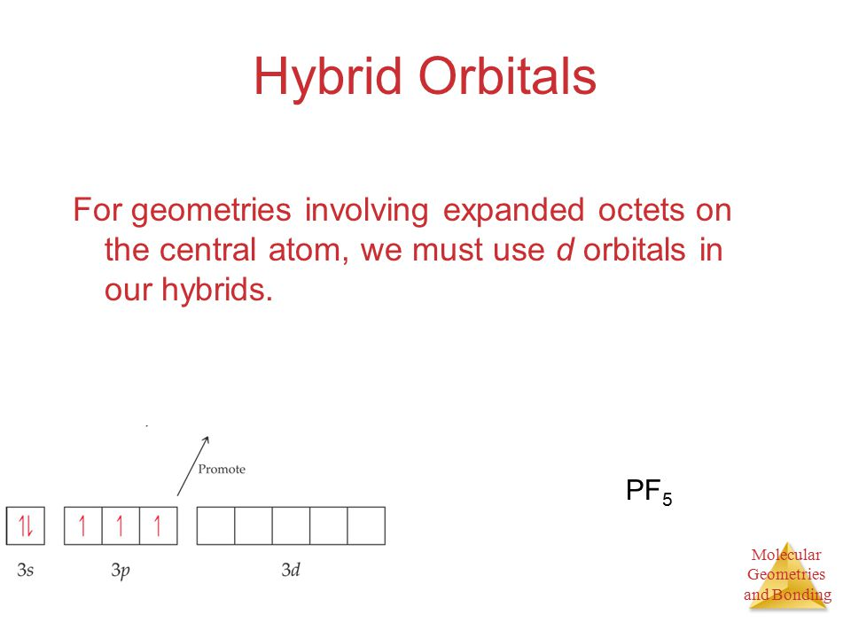 Molecular Geometries and Bonding Hybrid Orbitals For geometries involving expanded octets on the central atom, we must use d orbitals in our hybrids.