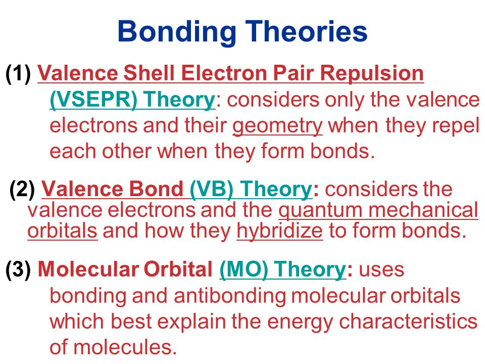 Molecular Geometries and Bonding Bonding Theories (2) Valence Bond (VB) Theory: considers the valence electrons and the quantum mechanical orbitals and how they hybridize to form bonds.(VB) Theory (1) Valence Shell Electron Pair Repulsion (VSEPR) Theory: considers only the valence electrons and their geometry when they repel each other when they form bonds.