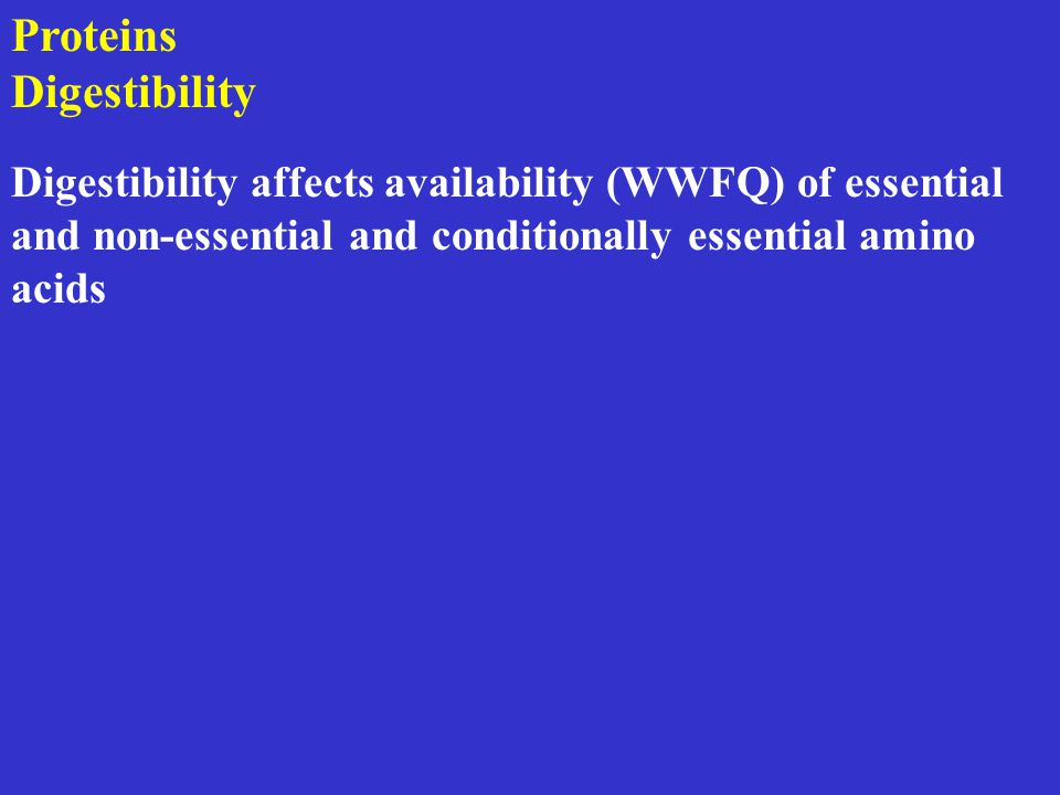 Proteins Digestibility Digestibility affects availability (WWFQ) of essential and non-essential and conditionally essential amino acids