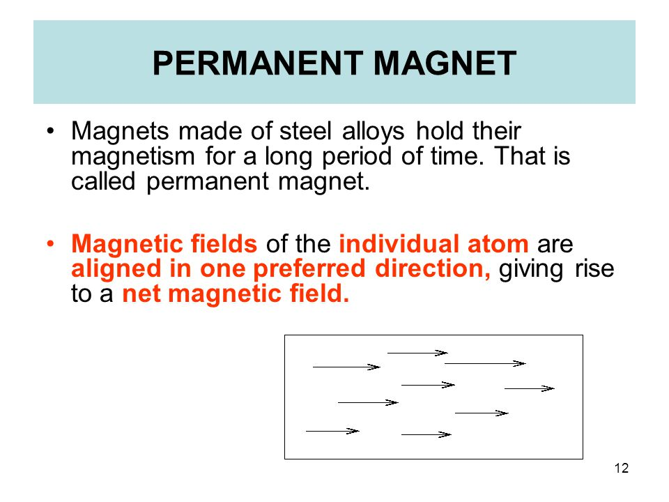 12 PERMANENT MAGNET Magnets made of steel alloys hold their magnetism for a long period of time. That is called permanent magnet. Magnetic fields of t