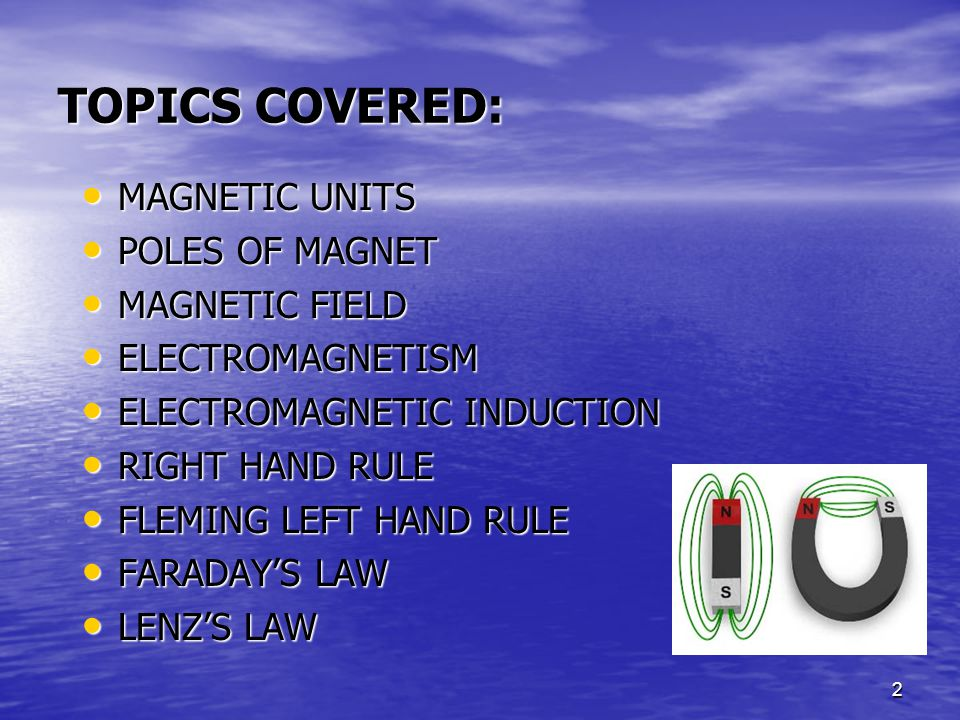33 OHM'S LAW APPLIED TO MAGNETIC CIRCUITS Ohm's Law, when applied to electrical circuits, gave the formula: I=V/R(2.1) where: I = current flow in amperes V = electromotive force/voltage R = current flow opposition/resistance A similar version can be applied to magnetic circuits, that is: (2.2) where:  = magnetic flow of lines of force (webers) Fm = magnetomitive force (ampere-turns) R = magnetic reluctance (NI/ Wb)