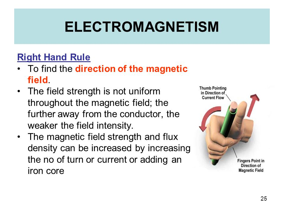 25 ELECTROMAGNETISM Right Hand Rule To find the direction of the magnetic field. The field strength is not uniform throughout the magnetic field; the