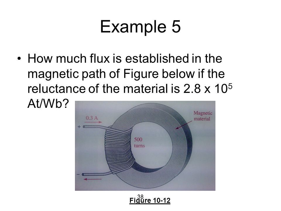 38 Example 5 How much flux is established in the magnetic path of Figure below if the reluctance of the material is 2.8 x 10 5 At/Wb? Figure 10-12